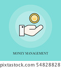 Hand holding coin. Money management concept icon. 54828828