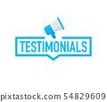 Hand holding megaphone - Testimonials. Vector 54829609