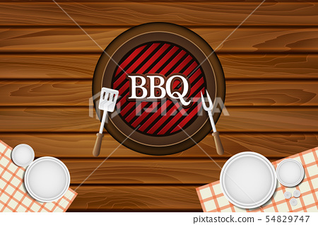 BBQ Party Restaurant Table Vector Background 54829747