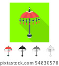 Vector design of beach and umbrella sign. Set of beach and water stock vector illustration. 54830578