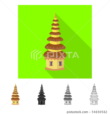 Isolated object of temple and landmark symbol. Set of temple and hindu stock symbol for web. 54830582