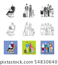 Vector illustration of character and avatar symbol. Set of character and portrait vector icon for 54830640