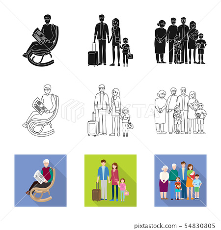 Isolated object of character and avatar sign. Set of character and portrait stock symbol for web. 54830805