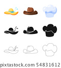 Isolated object of clothing and cap logo. Collection of clothing and beret vector icon for stock. 54831612