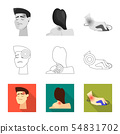 Vector illustration of hospital and rendering icon. Collection of hospital and help vector icon for 54831702
