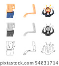 Isolated object of medical and pain icon. Collection of medical and disease stock symbol for web. 54831714