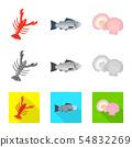 Vector illustration of fresh and restaurant symbol. Set of fresh and marine stock symbol for web. 54832269