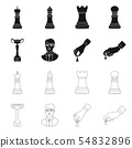 Vector illustration of checkmate and thin icon. Set of checkmate and target vector icon for stock. 54832896