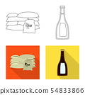 Isolated object of crop and ecological sign. Set of crop and cooking stock vector illustration. 54833866