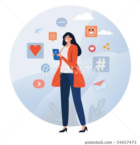 Social network. Online Community. Social media, 54837473