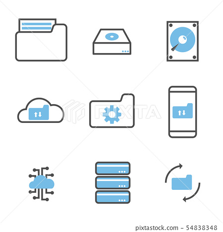 set of data storage and processing icons 54838348