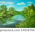 Summer rural landscape in Russia. Sunny day - calm blue summer river with reflection green grass and 54838766