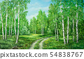 Summer rural landscape in Russia. Birchwood and country road. Original oil painting on canvas 54838767