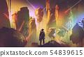 futuristic adventurer in floating land 54839615