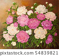 Still life with a bouquet of pink and white peonies. Original oil painting on canvas. Author s 54839821