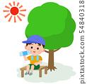 中暑测量男孩插图进入阴影和休息 54840318