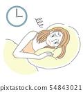 잠들지 못하는 불면증 여성의 일러스트 54843021