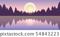 beautiful lake at full moon pine forest nature landscape 54843223