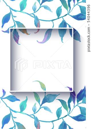 抽像美麗的水彩油畫葉子和樹枝 54844396