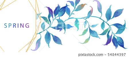 抽像美麗的水彩油畫葉子和樹枝 54844397