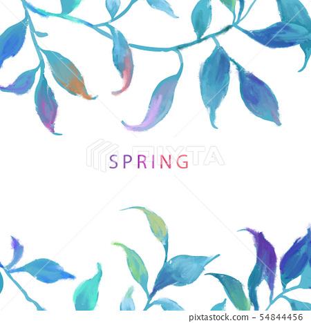 抽像美麗的水彩油畫葉子和樹枝 54844456