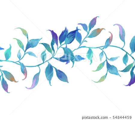 抽像美麗的水彩油畫葉子和樹枝 54844459
