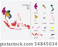 Southeast Asia map vector - Separated Country map 54845034