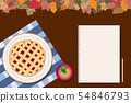 Apple pie with blank notepad ready for your text 54846793