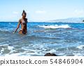 Cutie girl having fun in sea summer time 54846904