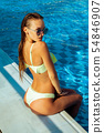 Gorgeous girl at the pool posing 54846907