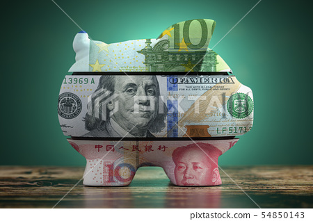 Piggy bank with dollar yuan and euro currency. 54850143