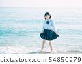 สาวโรงเรียนมัธยมเข้าสู่ทะเล 54850979