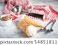 vanilla ice cream in waffle cone on marble 54851811