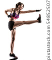 cardio boxing cross core workout fitness exercise aerobics woman isolated 54852507