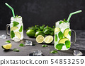 Two cold mojito in jars on a  black background. 54853259