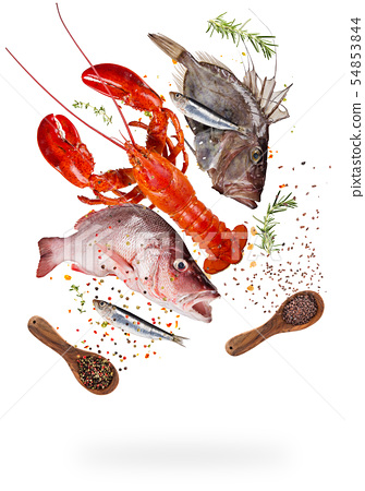 Flying raw sea fish with ingredients for cooking. Food preparation concept 54853844