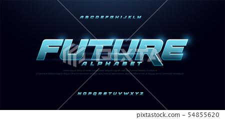 sport future blue glow modern alphabet fonts. 54855620