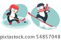 penguin hockey player and penguin snowboarder 54857048