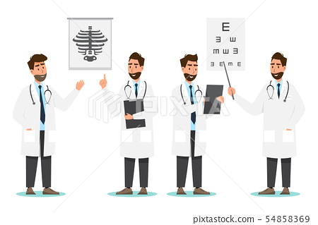 Set of doctor cartoon characters. Medical staff 54858369