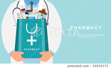 pharmacy background with doctor holding a medicine 54858373