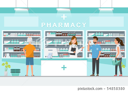pharmacy with pharmacist and client in counter 54858380