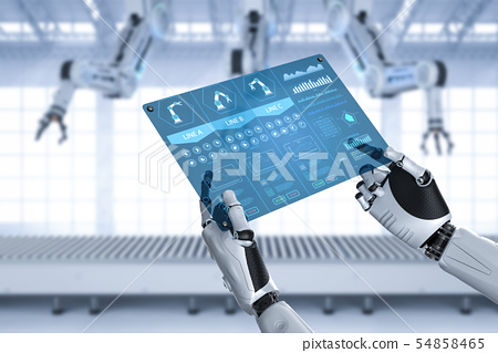 Robot with glass tablet 54858465