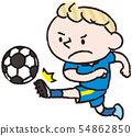 축구를하는 백인 소년 54862850