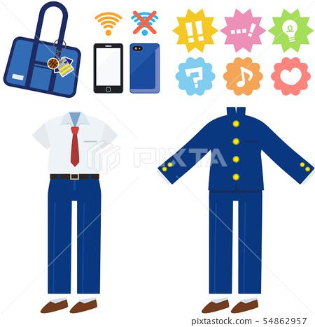 남학생 여름 겨울 유니폼 (셔츠 교복)와 아이템 세트 54862957