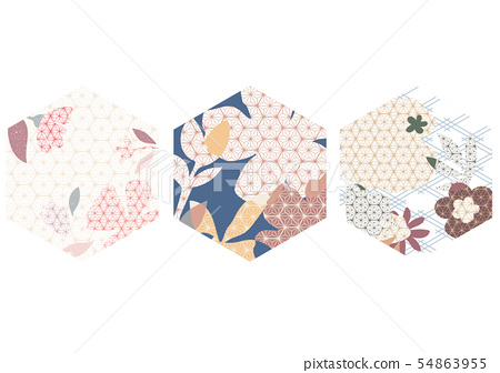 Japanese pattern vector with flower element.  54863955