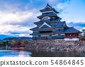 (Nagano Prefecture) National Treasure Matsumoto Castle Evening view 54864845