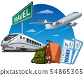 travel and passport with tickets 54865365