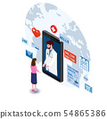 Doctor online isometry healthcare and medical consultation using a smartphone technology. Patient 54865386