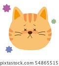 고양이의 얼굴 질병의 표정 (손으로 그린 바람) 54865515
