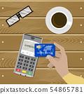 Payment nfc contactless, cashless transaction 54865781
